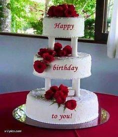 """ONA"" torta na 3 sprata Happy Birthday Greetings Friends, Happy Birthday Wishes Cake, Happy Birthday Cake Images, Happy Birthday Celebration, Birthday Wishes And Images, Happy Birthday Flower, Happy Birthday Candles, Birthday Blessings, Birthday Cake Write Name"