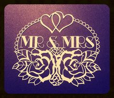 Mr & Mrs CYO papercutting template by TreefrogsTrinkets on Etsy