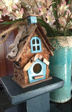 Mini Wood Birdhouse Blue Ornament Fairy Nature Gift House Fairy Garden Rustic Painted Crafted Michelle Dornstreich by BirdhousesByMichelle on Etsy
