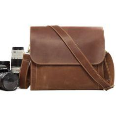 Vintage Genuine Leather DSLR Camera Bag Messenger Bag SLR Camera Bag PD01