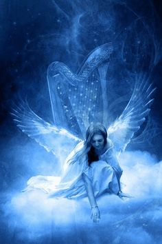blue fantasy angel | blue angel on clouds with star..