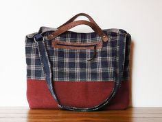 Plaid Messenger Bag Diaper bag Navy blue rust brown by SKmodell