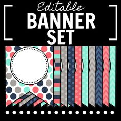 Spice up your classroom, door, or bulletin board with this teal, pink, gray, and navy banner set! There are 35 different styles in each banner, focused around polka dots, chevron, and stripes. This set is a zipped file with two Microsoft Powerpoint files: one that contains strictly large