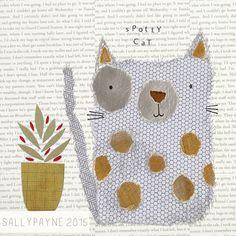 Illustration and surface pattern Illustrations, Illustration Art, Cat Doodle, Collage Techniques, Dibujos Cute, Art Graphique, Art Plastique, Cat Art, Textile Art