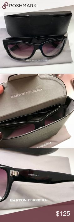 """Beautiful Barton Perreira sunglasses These are gorgeous, barely worn Barton Perreira Sunglasses.  Have held on to them in hopes of going back to wearing contacts, and it isn't going to happen, so someone needs to enjoy them!  Comes with original case and cleaning cloth. Very unnoticeable wear ( inside of the arm, the """"Perreira"""" rubbed off , and if you look really carefully on the outside of the arms you can see a few """"barely there"""" scratches  Lenses are perfect with a slight purple hue…"""