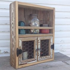 Reclaimed wood cabinet Chicken wire decor Kitchen shelf Wooden spice rack on Etsy, $90.00