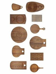 Scandinavian collection of eleven boards, c. 1960, teak