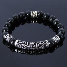 Handgemachte Männer Frauen Edelstein Armband schwarz von DiyNotion