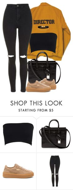 """18:04"" by fxckoups ❤ liked on Polyvore featuring Yves Saint Laurent, Puma, Topshop and Miss Selfridge"