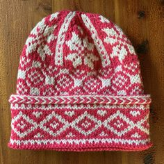 """Pink and White Triple-Patterned Watchcap – New England's Narrow Road - Great pattern, found in the """"Hats On"""" book, knit with Brooklyn Tweed """"Arbor"""" yarn.  So pretty!  #hatknitting #hatpattern #arboryarn"""