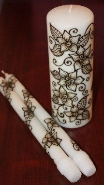 white Henna Unity Candle Set by NewWorldHenna on Etsy, $33.00