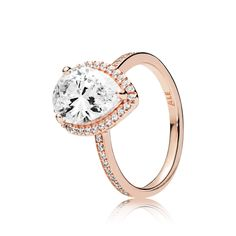 d1627528f Radiant Teardrop Ring, PANDORA Rose™ & Clear CZ Pandora Rose Gold Rings,  Pandora