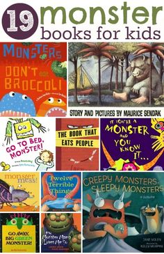 19 Monster Books for Kids by notimeforflashcards: Some scary some not. Short reviews for each included. #Kids #Books #Monsters