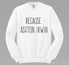 Because Ashton Irwin Sweatshirt 5SOS Sweatshirt by TheFeelsFactor<<need this more than air