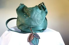 Mini Lizzy//in Green Pearl Leather and Adjustable by arebycdesign, $128.00