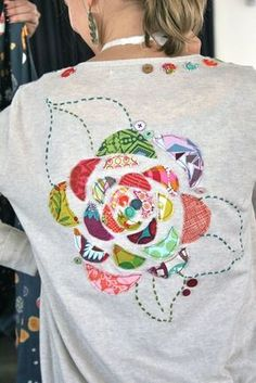 simply plain jane: tutorial: applique blossom sweater - this would be great on a sweatshirt also.