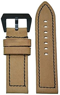 4c9ecbd483c 24mm XL Panatime Tan  Loco Horse  Suede Vintage Genuine Leather Watch Band  with Black Stitching 125 85 24 24 Review