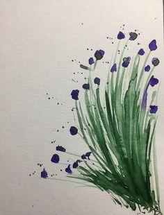 ORIGINAL AQUARELL Aquarellpostkarte Wiesenblumen abstrakt