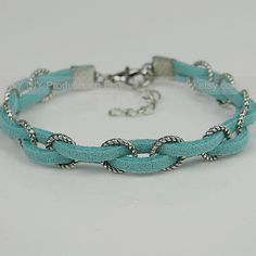 Braid Bracelet Leather Bracelet Antique Silver Rings---vma.