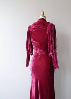 Vintage 1930s vibrant jewel-toned sleeveless bias-cut silk velvet gown with draped neckline and coordinating jacket with billowy sleeves that narrow after the elbow, open center, button collar and button waist. --- M E A S U R E M E N T S --- fits like: small bust: 34 waist: 26.5 hip: 44
