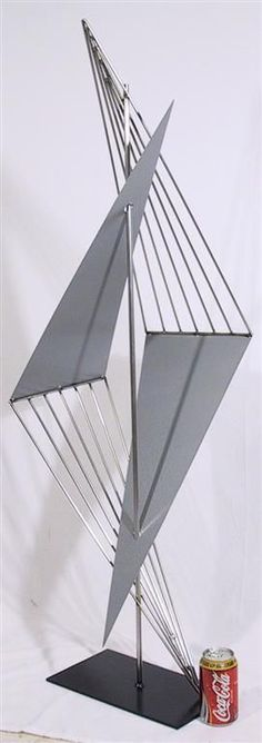Contemporary metal sculpture - stainless steel and silver