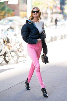 Behati Prinsloo in Balenciaga leggings and a Prada Jacket worn with  Gianvito Rossi boots. Behati a58d923a2