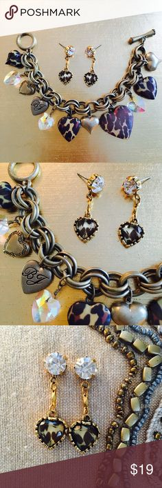 Vintage Betsey Johnson Charm Bracelet & Earrings Betsey Johnson Leopard Metal and Crystal Charm Bracelet with three Lockets and matching earrings. Vintage Betsey 🎀 Betsey Johnson Jewelry Bracelets