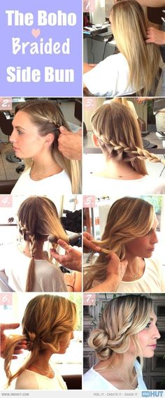 Braided side bun - messy updo - quick easy office hair style. 2 angled side braids into a tossled bun! perfect for dirty hair! ditch that ugly baseball hat stat!!
