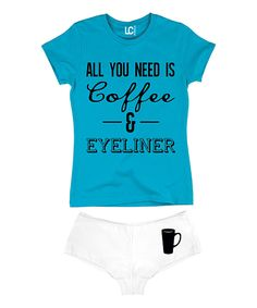 Look at this Turquoise 'All You Need Is Coffee' Tee & White Hipster on #zulily today!