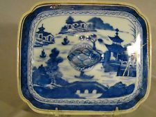 Antique Chinese Export Porcelain Blue Canton Covered Vegetable Tureen 19thc