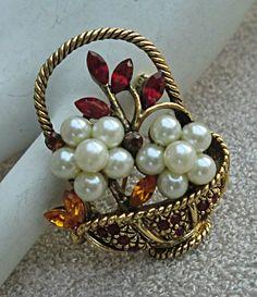 Vintage Flower Basket Pin Faux Pearls Red Amber Rhinestones Brooch