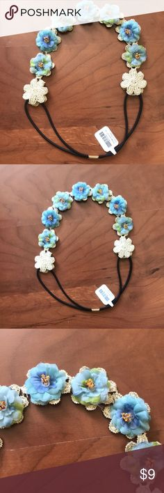 🍩3/$25 blue floral headband - elastic back for a secure hairstyle  - floral headband   My fave part: each flower has a unique blend of blue, green and purple (as pictured). It is so so so adorable!!!! icing Accessories Hair Accessories