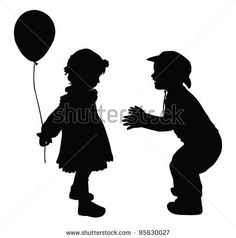 Silhouettes of boy in cowboy hat and girl with baloon. Retro style. Vector eps8 by vadimmmus, via ShutterStock