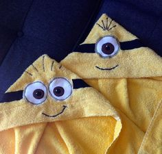 Eat, Drink & Be Crafty! Handmade hooded towel Minions using a bath towel and half a hand towel.