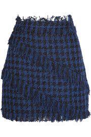 MSGMFringed houndstooth tweed mini skirt