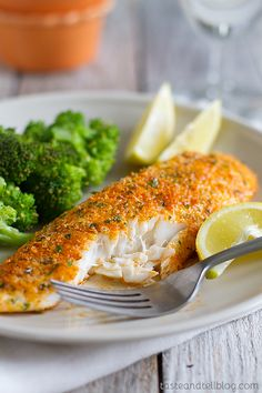Parmesan Crusted Tilapia - Try this simple fish recipe that is done in 20 minutes. It will even impress non-fish lovers!