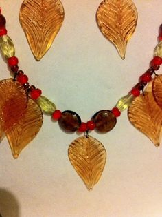 blown glass leaves necklace in fall colorsred by BeadingByJenn, $23.50