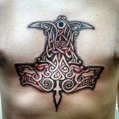 #dotworktattoo #Huginn #Muninn #Geri #Freki #Gungnir #Odinn #Odin #Oden… // Amazing how they kinda shaped it like an axe/hammer