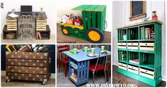 DIY Wood Crate Furniture Ideas & Projects: Crate Wall Storage, Tractor Toy Storage, Train Planter, Bookcase, Office Desk, Craft Table, Wall Shelving etc