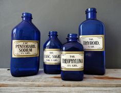 Blue Glass Apothecary Bottle