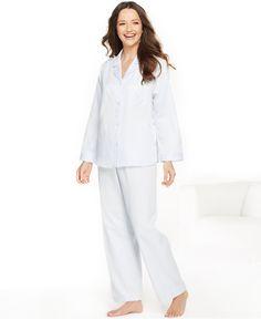Miss Elaine Petite Brushed Back Satin Top and Pajama Pants Set  MissElaine Petite  Pajamas da2a4094a