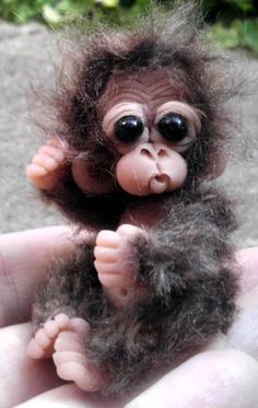 "OOAK Cutest Monkey Orangutan Chimp with Overalls Dollhouse Miniature Reborn Primate 3"" tall. $14.99, via Etsy."