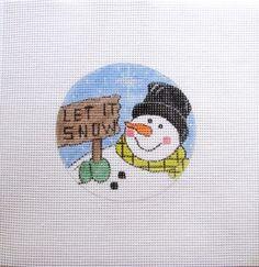 """Let it Snow"" Snowman Handpainted Needlepoint Canvas Ornament #Unbranded"