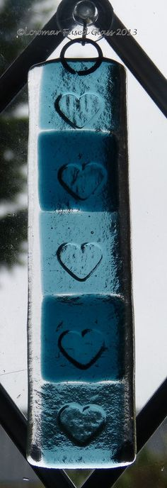Fused glass heart sun-catcher £14.00  With kiln carved hearts
