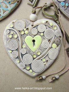 Detail of ceramic heart pendant Ceramics Projects, Polymer Clay Projects, Polymer Clay Jewelry, Clay Crafts, Ceramic Wall Art, Ceramic Pendant, Ceramic Pottery, Ceramic Workshop, Plaster Art