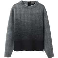 Proenza Schouler Ombré Sweatshirt (48.180 RUB) ❤ liked on Polyvore featuring tops, sweaters, jumpers, proenza schouler, proenza schouler top, long sleeve tops, black boxy top, ombre top and cut-off