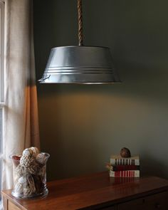 Rustic Steel Tub Hanging Rope Lamp Light w/ Edison Bulb - Industrial Wedding by WildwoodDesignCo on Etsy https://www.etsy.com/listing/179991188/rustic-steel-tub-hanging-rope-lamp-light