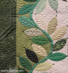 """detail, """"Emeralds and Lace"""" by Karin Crawford (Utah)/ photo by Quilt Inspiration: St. Patrick's Day and Celtic Quilts. 2017 Springville (Utah) quilt show. Machine Quilting Patterns, Quilt Block Patterns, Applique Patterns, Longarm Quilting, Free Motion Quilting, Applique Quilts, Quilting Projects, Patchwork Quilting, Quilting Ideas"""