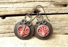 Red Raku Ceramic Buttons Copper Earrings by annamei on Etsy
