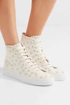 Simone Rocha - Laser-cut Leather High-top Sneakers - Neutral